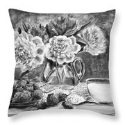 Strawberries With Cream Black And White Throw Pillow