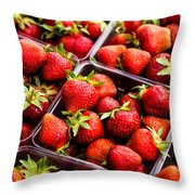 Strawberries With Green Weed In Plastic Containers  Throw Pillow