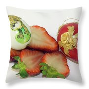 Strawberry And Easter Eggs Throw Pillow