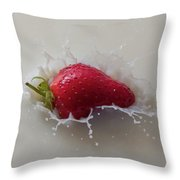 Strawberry And Milk Throw Pillow