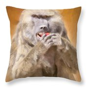 Strawberry Baboon Throw Pillow