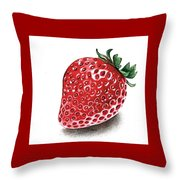 Strawberry Bite Throw Pillow by Janet Moss