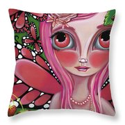 Strawberry Butterfly Fairy Throw Pillow