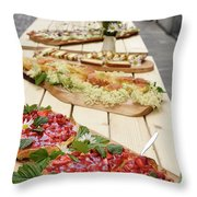 Strawberry Cake And Other Snacks On A Wood Table Outdoors On Sta Throw Pillow
