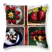 Strawberry Collage Throw Pillow