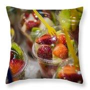 Strawberry Desert - La Bouqueria - Barcelona Spain  Throw Pillow