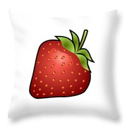 Strawberry Fruit Outlined Throw Pillow