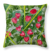 Strawberry Love Patch Throw Pillow