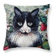 Strawberry Lover Cat Throw Pillow