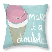 Strawberry Scoop Throw Pillow by Linda Woods
