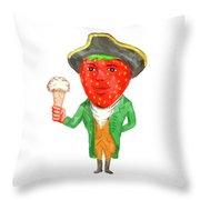 Strawberry Tricorn Hat Ice Cream Victorian Gentleman Watercolor Throw Pillow