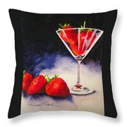 Strawberrytini Throw Pillow