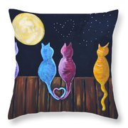 Stray Cats In Moonlight Throw Pillow