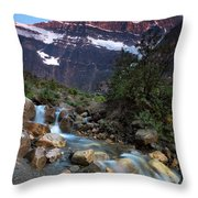 Stream And Mt. Edith Cavell At Sunset Throw Pillow