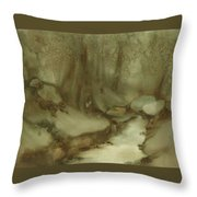 Trees By Stream Throw Pillow