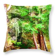 Streams In A Wood Covered With Leaves Throw Pillow