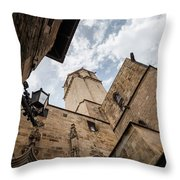 Street Behind The Barcelona Cathedral In Spain. Throw Pillow