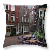 Street Cafe Mooy In Amsterdam Throw Pillow