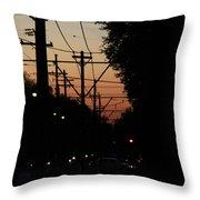 Street Car Sunset Throw Pillow