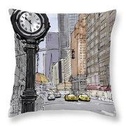 Street Clock On 5th Avenue Handmade Sketch Throw Pillow