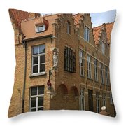 Street Corner In Bruges Belgium Throw Pillow