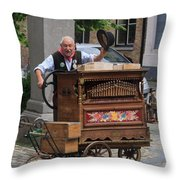 Street Entertainer In Bruges Belgium Throw Pillow