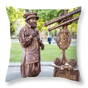 Street Entertainer - La Rambla - Barcelona Spain Throw Pillow