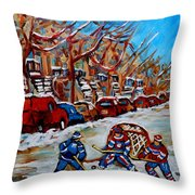 Street Hockey Hotel De Ville Throw Pillow