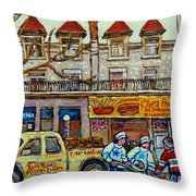Street Hockey Pointe St Charles Winter  Hockey Scene Paul's Restaurant Quebec Art Carole Spandau     Throw Pillow