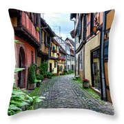 Street In Eguisheim, Alsace, France Throw Pillow