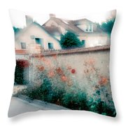 Street In Giverny, France Throw Pillow