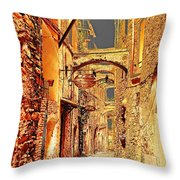 Street In Old Town. Throw Pillow