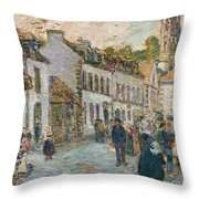 Street In Pont Aven Throw Pillow by Childe Hassam