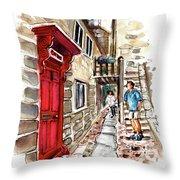 Street In Robin Hoods Bay 01 Throw Pillow