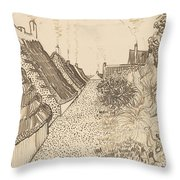 Street In Saintes-maries-de-la-mer Throw Pillow