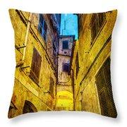 Street In Vernazza - Vintage Version Throw Pillow