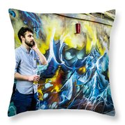 Street In Yellow And Blue . Throw Pillow