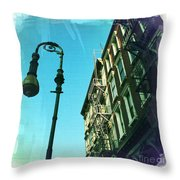 Street Lamp And Fire Escape Throw Pillow