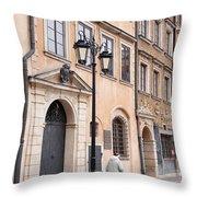 Street Lantern And Old Woman Throw Pillow