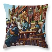 Street Life Of Peking, 1921 Throw Pillow