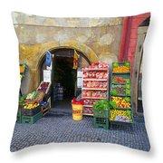 Street Market, Prague Throw Pillow