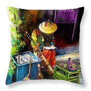 Street Musician In Pietrasanta In Italy Throw Pillow
