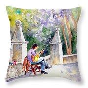 Street Musician In Pollenca Throw Pillow