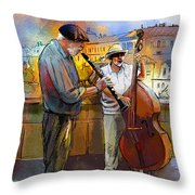 Street Musicians In Prague In The Czech Republic 01 Throw Pillow