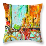 Street Of Amsterdam - Four Girls Throw Pillow