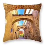 Street Of Sirmione Historic Architecture View Throw Pillow