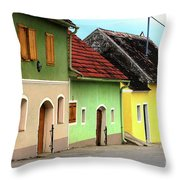 Street Of Wine Cellar Houses  Throw Pillow by Mariola Bitner