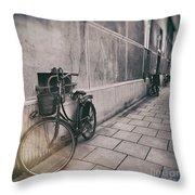 Street Photo Bicycle Throw Pillow