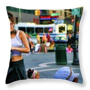 Street Photography Nyc Paint  Throw Pillow