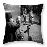 Little Girl Waving Back Throw Pillow